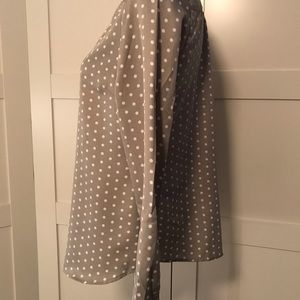The Limited Tops - The Limited Grey Polka Dot Long-sleeve Blouse